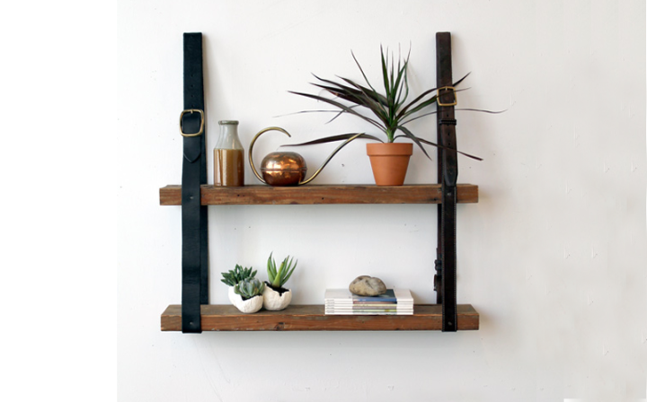 DIY Reclaimed Leather and Wood Shelves